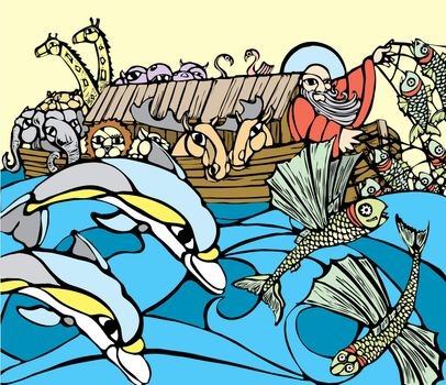 Noah fishes of the side of his Ark while dolphins play.