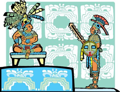 Mayan King on throne speaks to a warrior in full regalia.