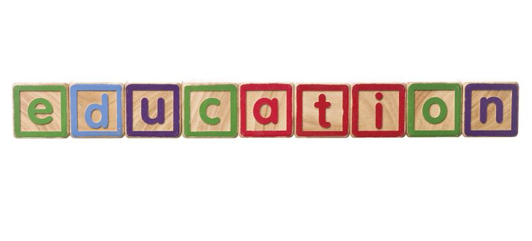 The word education built of Play Blocks