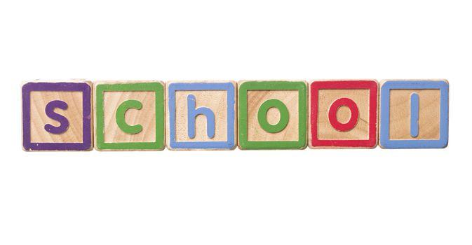 The word school built by Play Blocks