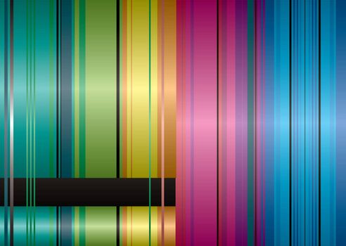 Brightly coloured ribbon inspired abstract striped background with copyspace