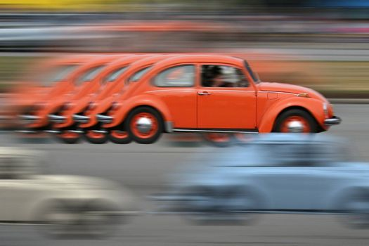 abstract of vintage car racing motion blur