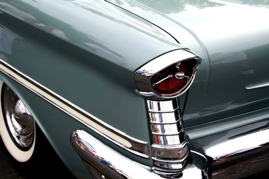 blue classic car on woodward dream cruise show