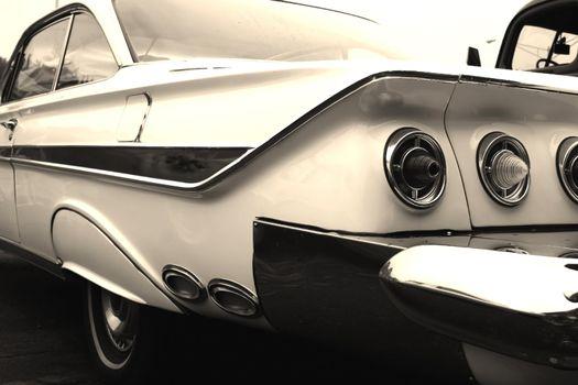 white classic car on woodward dream cruise show