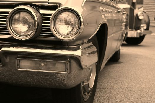 beautiful american muscle cars in sepia color