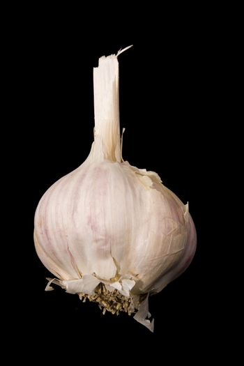 Photo of a clove of garlic over black background