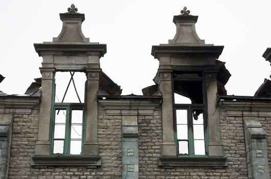 Two windows standing after a fire