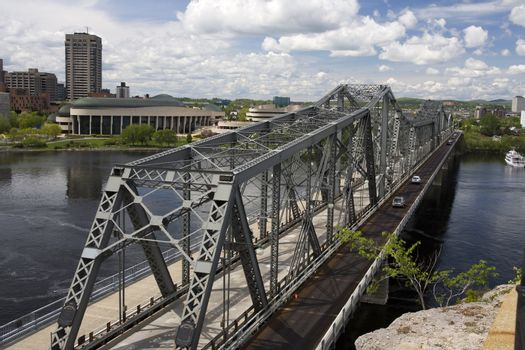 View of the Alexandra Bridge between Ottawa and Gatineau in Canada