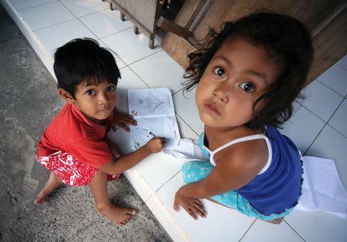 Indonesia. Bali. Drawing children