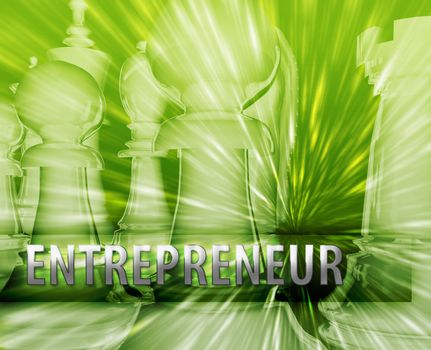 Abstract entrepreneur business strategy management chess themed illustration