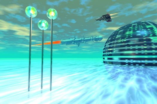 Modern buildings and culture on a water world.