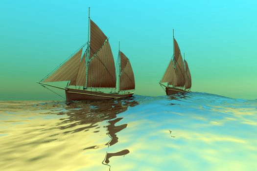 Two ships sail on a glassy sea.
