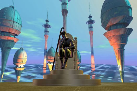 A king sits on his throne on a futuristic world.