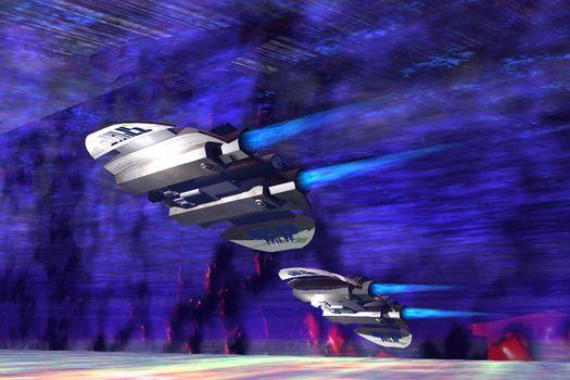 Two spaceships speed along a nebular expanse.