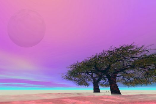 Surreal fantasy landscape with a large moon.