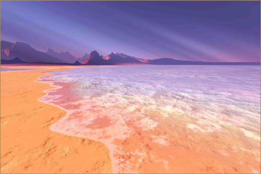 Sunrays shine down on this beautiful beach.