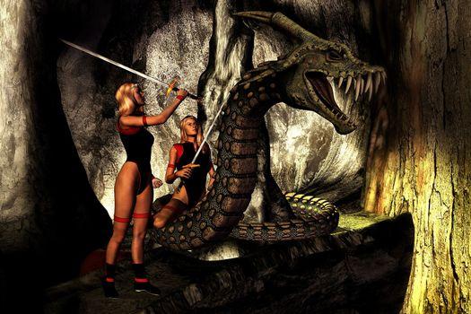 Two women warriors battle an evil dragon.