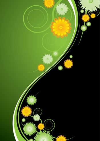 Green and black abstract background with gloral elements and vines