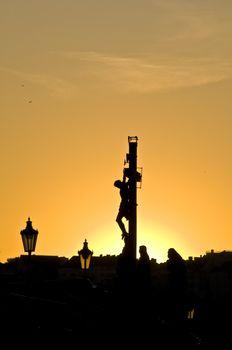 beautiful sunset at the Charles bridge in Prague