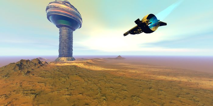A spacecraft nears a space port on another planet.