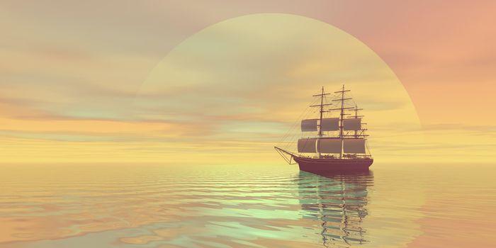 A clipper ship sails on golden seas.