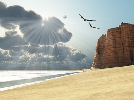 Sunlight shines down on two birds flying near a cliff by the ocean.