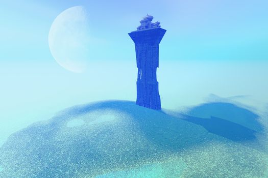 A palace sits on a tower as a lookout post for this fantasy kingdom.
