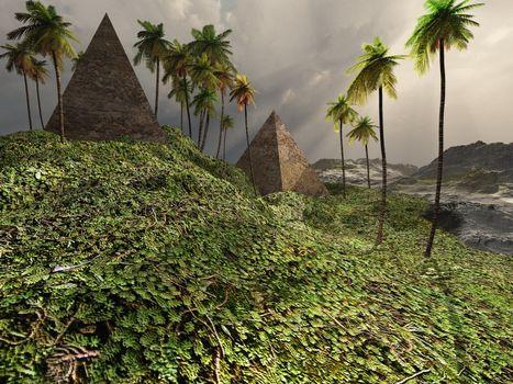 Two pyramids sit majestically among the surrounding jungle.