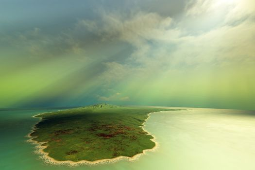 Sun rays shine down on this tropical island.