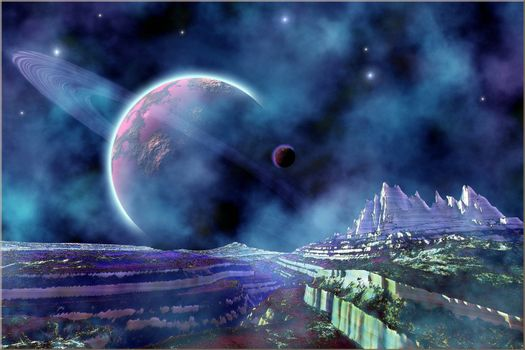 Fantasy alien world view of the universe.