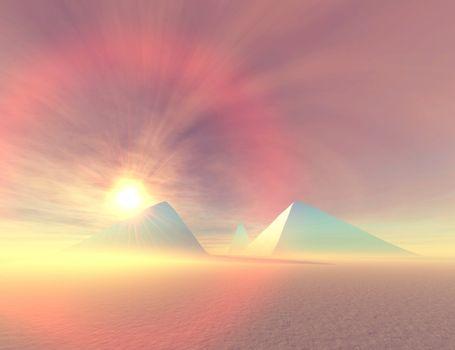 Fantasy desert landscape of pyramids.