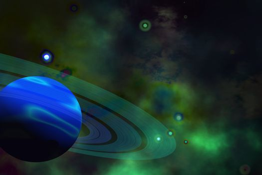 A blue ringed planet and nearby stars.