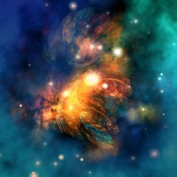 Cosmic image of a colorful nebula out in space.