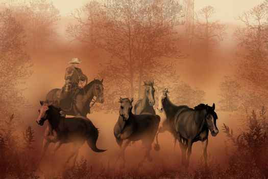 A cowboy drives a herd of horses back to the ranch.
