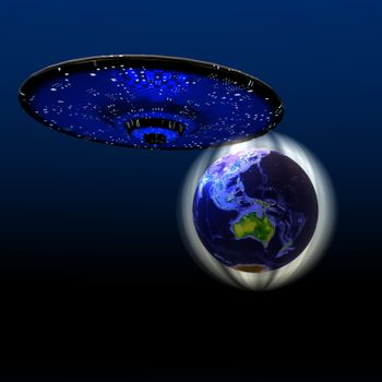 Cosmic image of a flying saucer and the magnetic force field protecting the Earth.