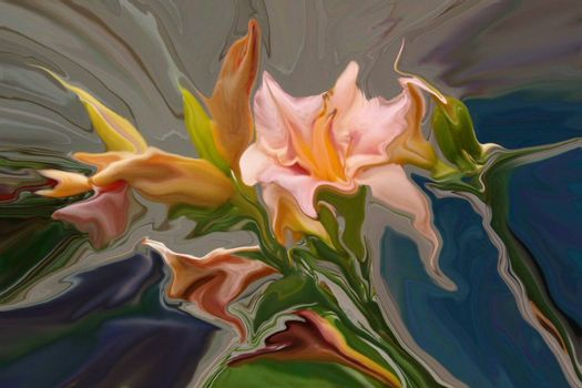 Abstract bouquet of pink lilly flowers.