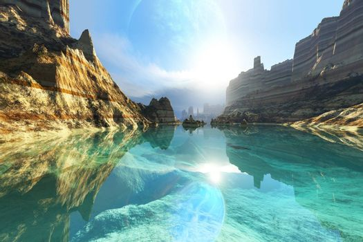 Clear canyon waters reflect the alien planet in the sky.