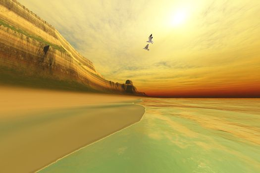 Seagulls fly near the mountains of this seascape.