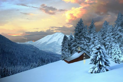 A cabin nestles in the mountain evergreen trees.