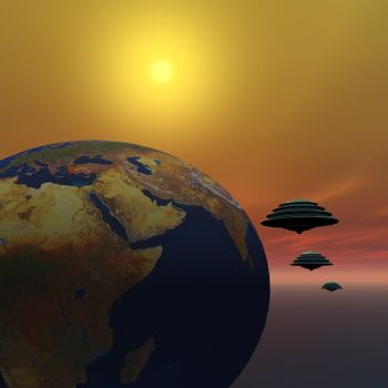 Flying saucers make a visit to Earth.