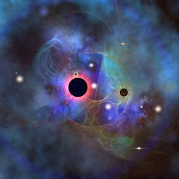 Beautiful stars, black holes and nebulae make up this cosmic image of the universe.