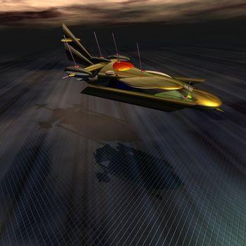 A spacecraft lands at a base on an alien world.