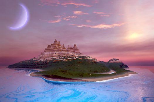 Fantasy seascape of an island.