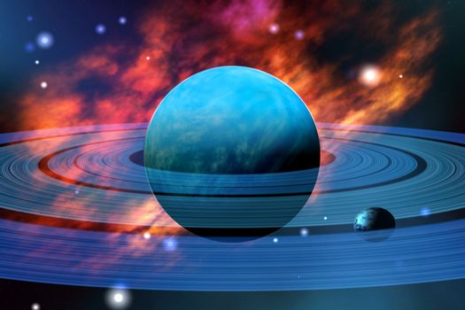The beautiful blue planet of Neptune with its moons.