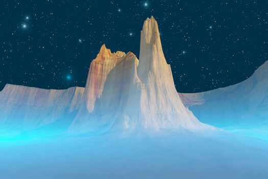 Blue mist encircles this mountain on a starry night.