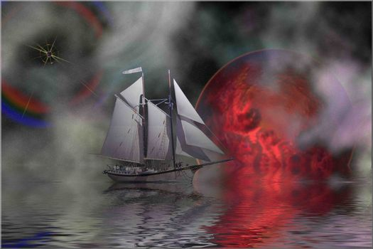 Cosmic seascape of a sailing ship.