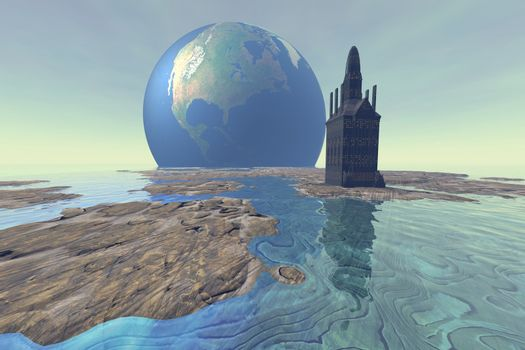 Terraforming the moon with water and buildings.