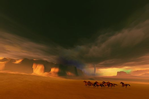 A herd of wild horses run from a tornado and thunderstorm.