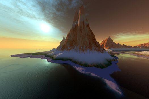 Fantasy seascape with a beautiful sky.