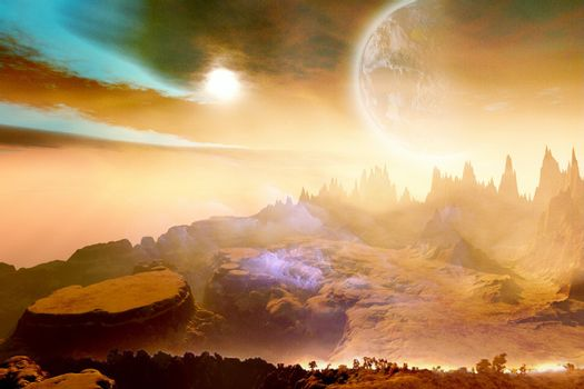 Cosmic landscape on another world.
